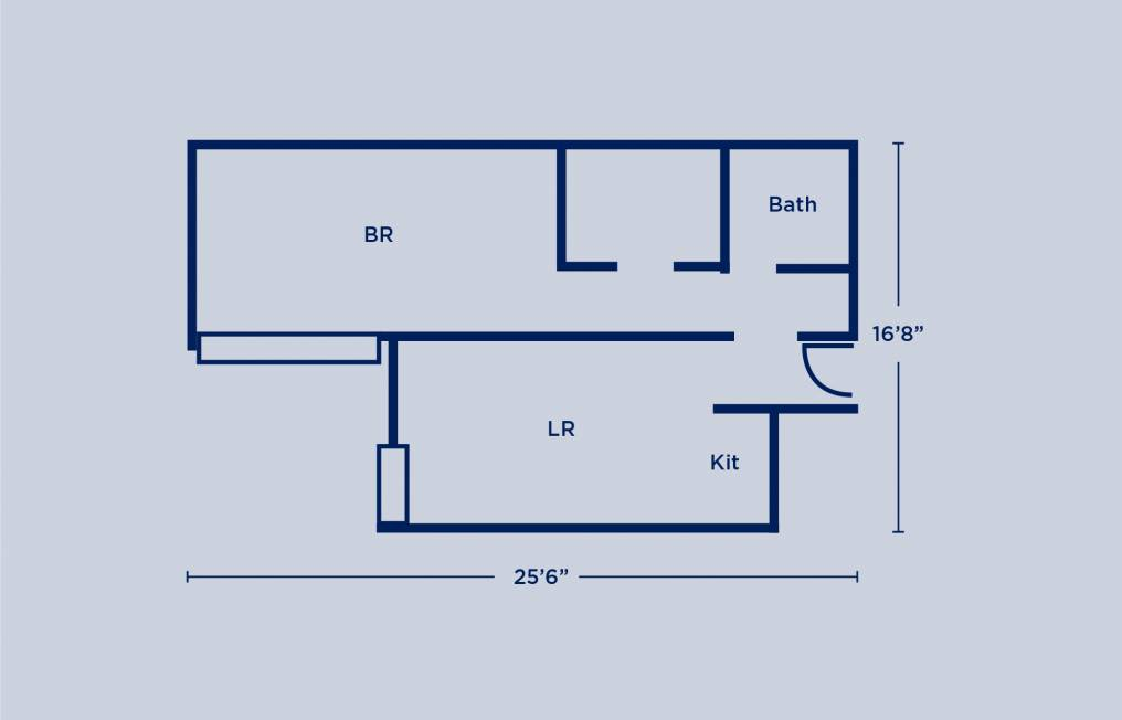 Harrison Double One Bedroom Apartment Layout
