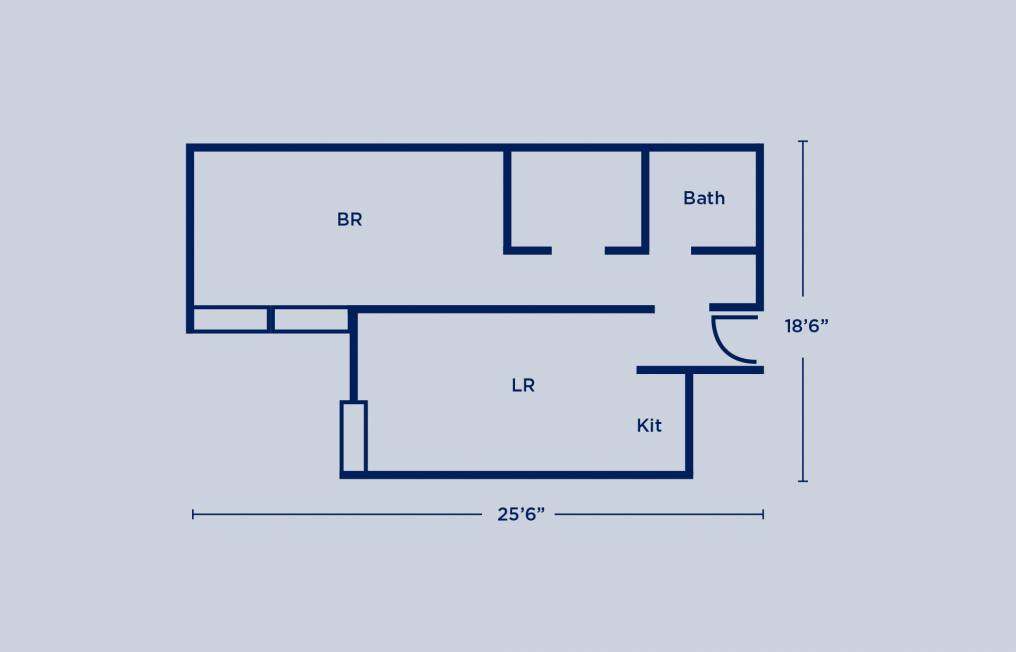 Rodin Double One Bedroom Apartment Layout