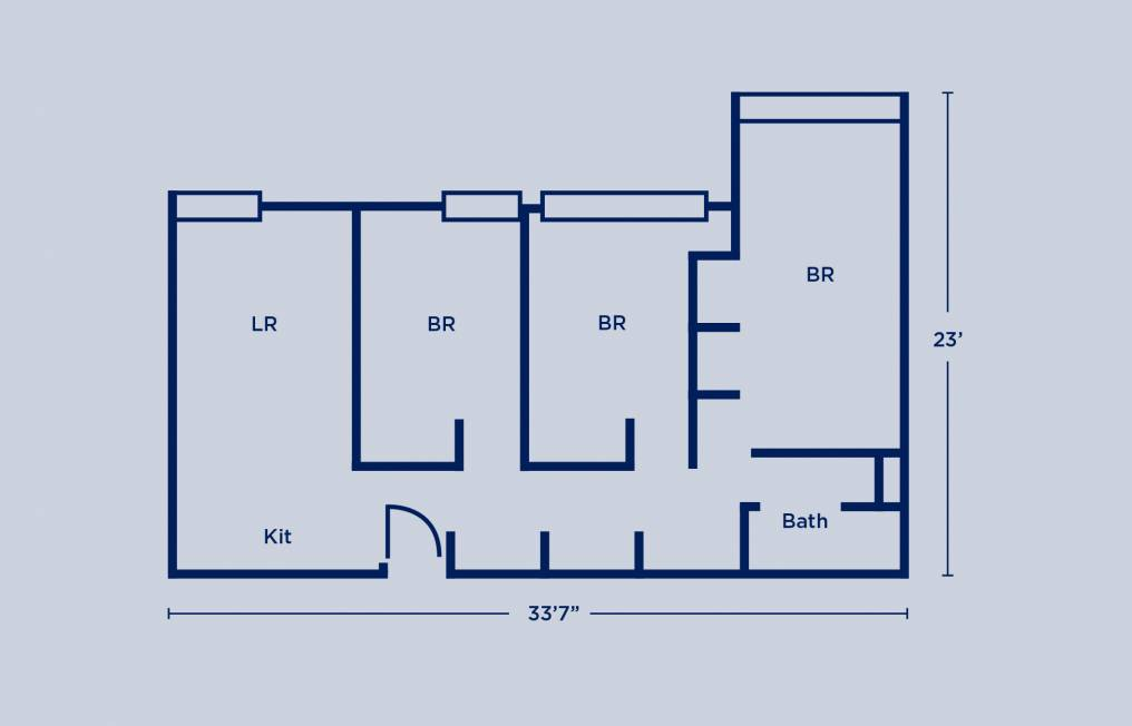 Rodin Quad Three Bedroom Apartment Layout