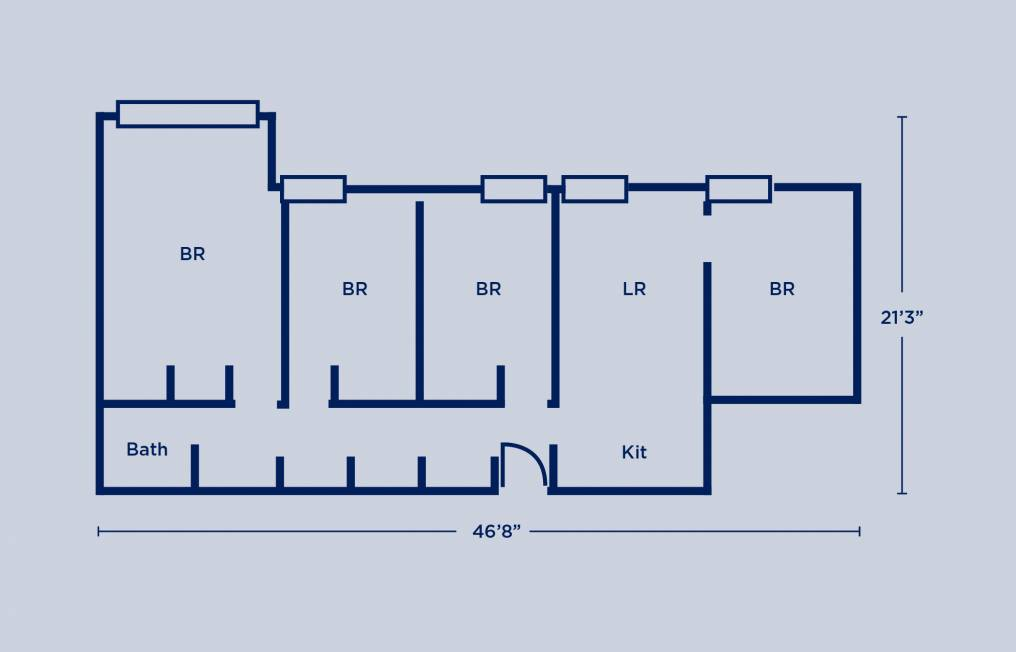 Rodin Quad Four Bedroom Apartment Layout