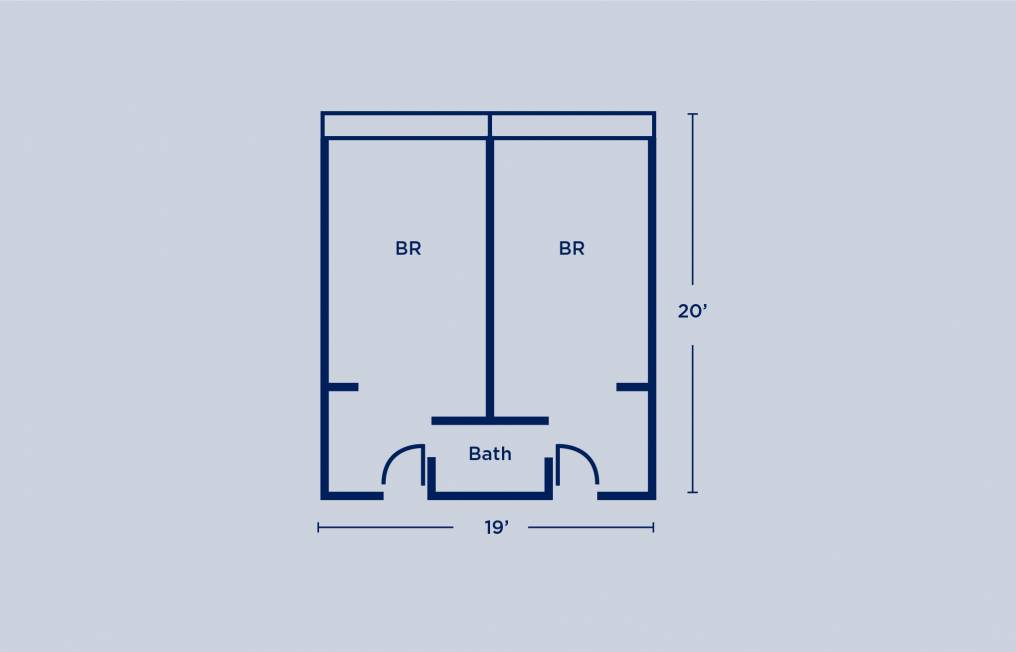 Sansom Place Single Shared Bath Room Layout